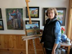 Elizabeth Johnson Canadian painter working in her studio